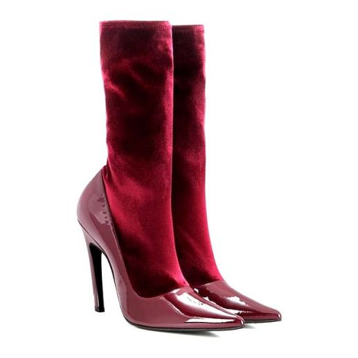 balenciaga-red-velvet-and-patent-leather-boots