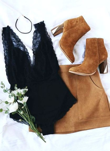Fall boots Lace bodysuit and camel suede skirt